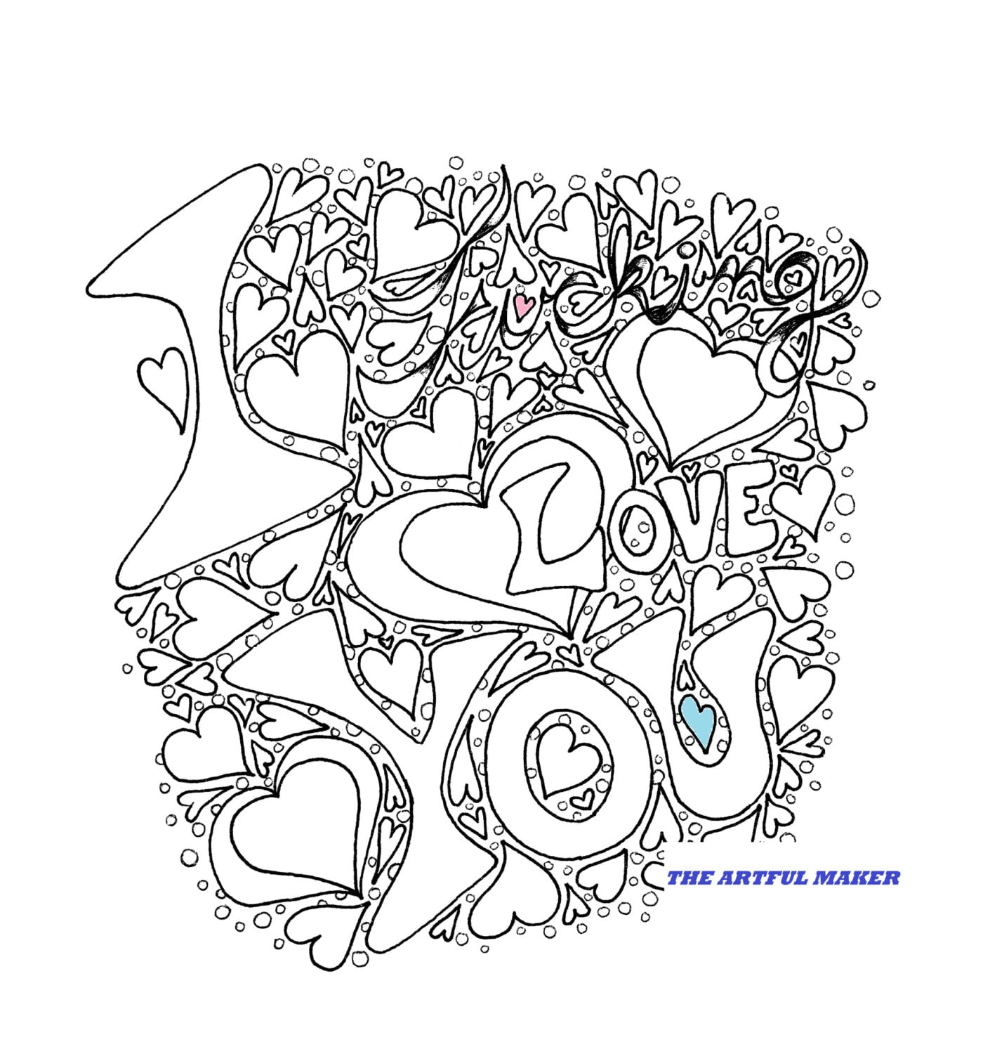 i you coloring page by the artful maker