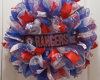 Texas Rangers Wreath, Rangers Wreath, Baseball Wreath, Play Ball Wreath, Tx Ranger Wreath, MLB Wreath, Rangers Baseball Wreath, Door Wreath