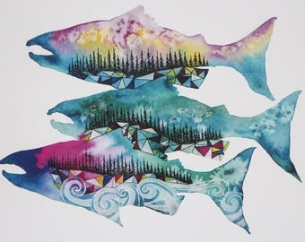 Salmon Season, West Coast, Watercolor, Print, Pacific Northwest, Fine Art