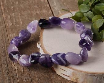 AMETHYST QUARTZ Bracelet - Stretch Bracelet, Amethyst Bracelet, Tumbled Stones, Quartz Crystal Jewelry, Amethyst Bead Amethyst Jewelry E0363