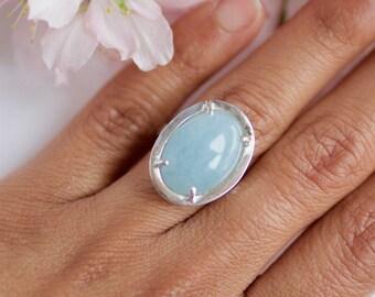 KAI, anillo de plata y cuarzo azul hecho a mano