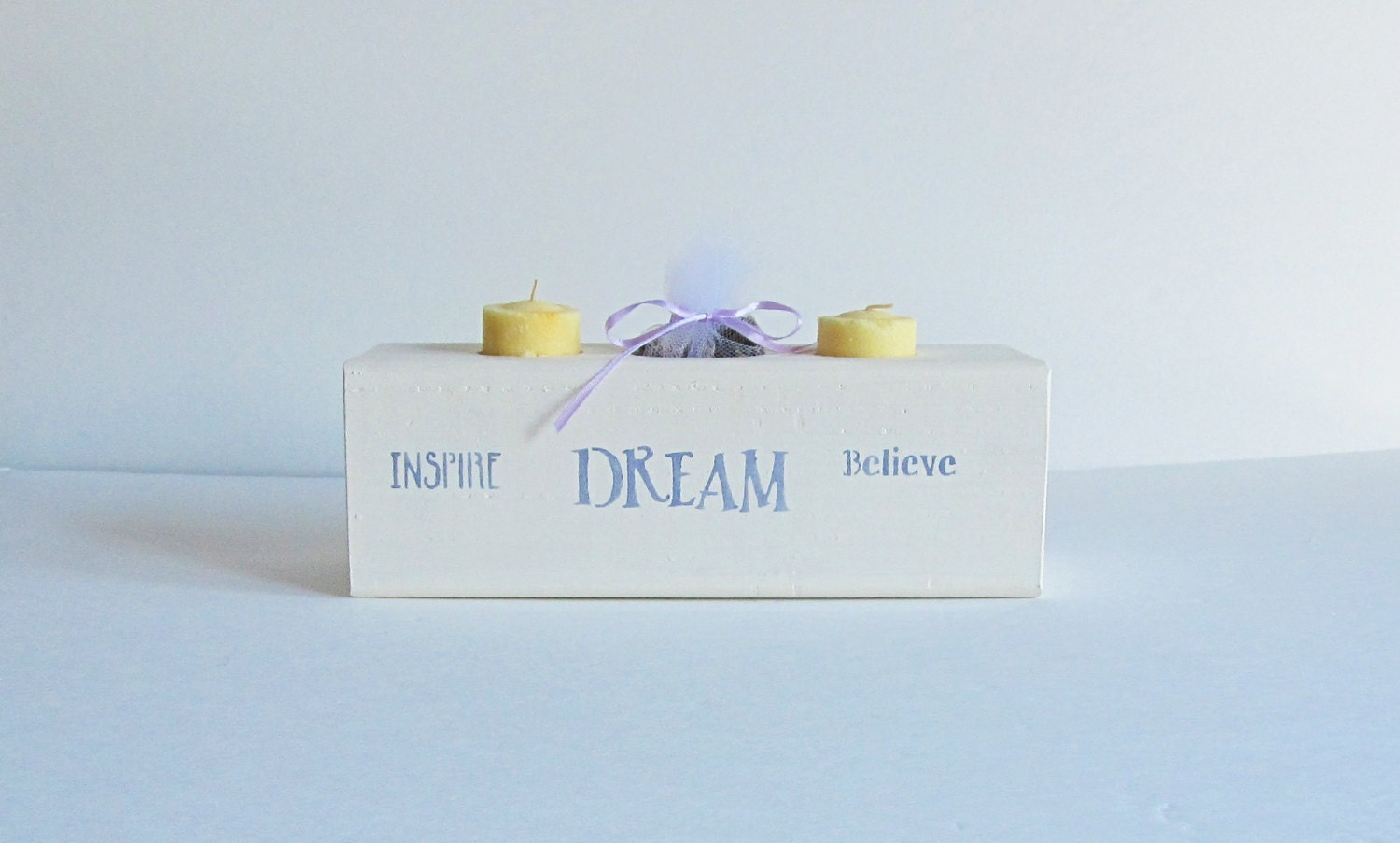 White Wooden Candle Holder Live Laugh Love Tea Light