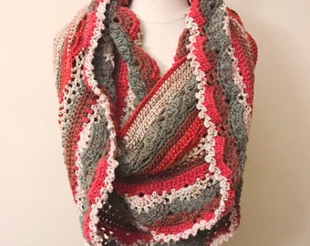 Friendship Infinity Scarf | Red Velvet Scarf | Crochet Scarf | Long Scarf | Red, Gray, Beige