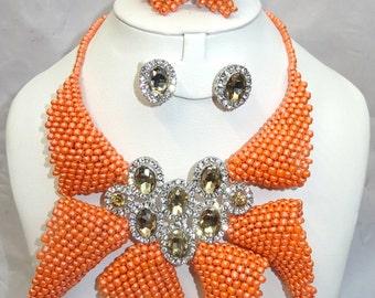 PrestigeApplause Orange Tulip New Design with Brooch Necklace Jewellery Set