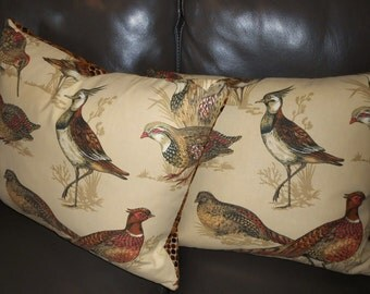 Brunschwig & Fils Throw pillows printed birds WOODLANDS cotton new PAIR