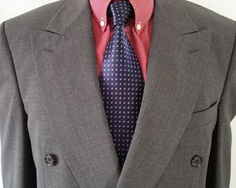 Vintage Burberrys Prorsum Double Breasted Grey with fine red pinstripe pure wool Suit