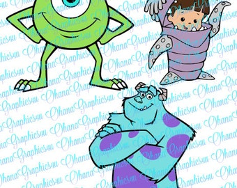Monsters Inc. Mike, Sully and Boo Combo SVG