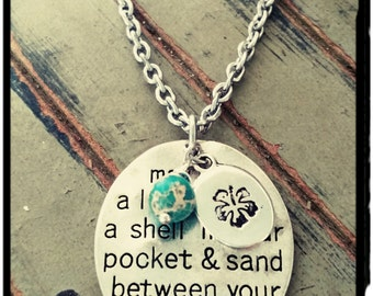 """Beach Charm Necklace - """"Toes in the Sand..."""" Charm//Aqua Terra Jasper//Hand Stamped Hibiscus Flower - Stainless Chain//Beach Gift"""