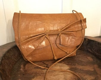 Vintage Carlos Falchi Camel Colored Embossed Leather Purse Shoulder Bag with Drawstring Detail