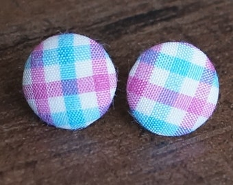 Blue and Pink Gingham Fabric Button Stud Retro Earrings