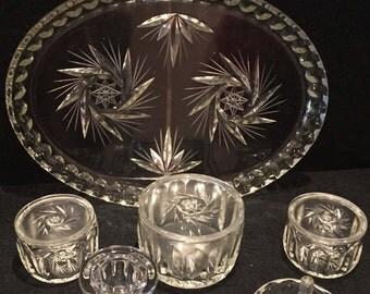 Vintage  / Art Deco / Clear glass / Dressing table set / Trinket / Vintage Glass Tray /  Vintage Candlestick / Vanity set / Gift / 6 pieces.