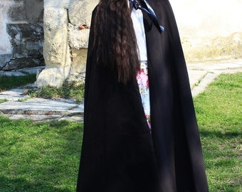 Long Black Cape, Medieval Cape, Black Cloak, Black Cape Coat, Long Cloak, Black Medieval Cloak, Gothic Cloak, Gothic Black Cape