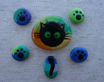 Magnet collectibles-hand painted stones-black cat-cat stones-cat magnets-black cat-черный кот-gift for mom-