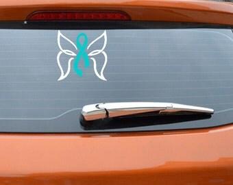 Cancer Awareness Car Decals Cervical Cancer Ribbon Cancer Awareness Ribbon Teal Ribbon Window Decals Car Window Rememberance Ribbon Sticker