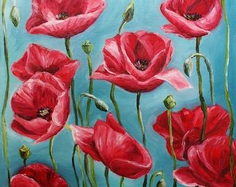 Flower Oil Painting Poppy Painting Poppy Art Floral Art Red Poppies Original Art Oil Painting Canvas Art