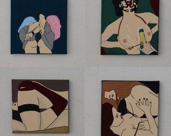 Girls Like Girls Pop Art Paintings x4 (small)