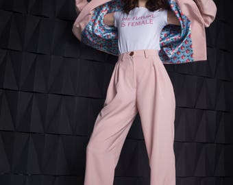 Power Suit, Apple pattern jacket, Pants, Pastel pink suit, Blue suit, Pantsuit, 80s suit, Women's suit, Printed lining, 90s, Pants Suit,