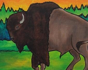 Buffalo painting, original canvas Bison art, cabin decor, wildlife painting, rustic lodge decor, animal artwork, guy gifts, Buffalo Bison