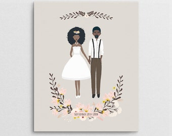 Bridal Shower Gift - Couple Portrait - Wedding Portrait - First Anniversary Gift - Wedding Gift - Couple Illustration - Semi Custom Portrait