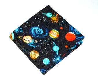 Space Fabric, Cotton Fabric, Quilting Fabric, Fabric by the Yard, Galaxy Fabric, Planets Fabric, Solar System Fabric