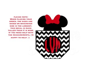 Personalized Chevron Pocket with Minnie Mouse with Bow and Initials Monogram Cruise Disney Iron On Decal Vinyl Matching Family for Shirt 121