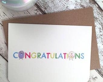 Congratulations cute Card with doughnuts.