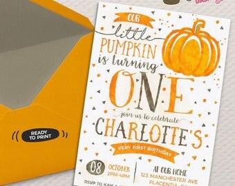 Pumpkin Birthday invitation DIY Pumpkin printable invite pumpkin first Birthday Invitation watercolors