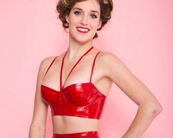 Longline latex bra (with underwire)