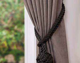 Black Rope Monkey Fist Knot Curtain Tiebacks Halloween Decor