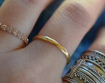 14 Karat Yellow Gold Dainty Vintage Wedding Band, US Size 7.75, Used Vintage Stacking Ring