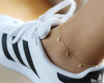 Dainty CZ Charm Anklet - Gold Anklet - Sterling Silver Anklet - Festival Fashion - Ankle Bracelet - Diamond Anklet - Bohemian Jewelry