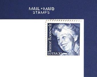 Eleanor Roosevelt || Set of 10 unused vintage postage stamp