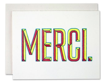 Thank You Card • Merci • Letterpress Greeting Card • Many thanks card •Appreciation Gift • Thank you cards • Give thanks • Give thanks Card