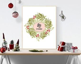 Printable Christmas art, Christmas artwork, Christmas card, Christmas diy, Joy to the world, Christmas print, Christmas large decoration
