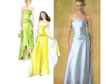 Uncut Simplicity 4272 Sewing Pattern, Size 8-16 Women's Dress Long Prom Dress Evening Gown, Fitted Dress Flared Skirt