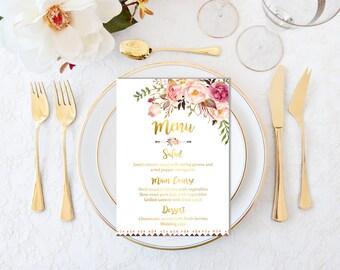 Gold Printable Boho Wedding Menu, Floral Boho Wedding Menu, Gold Bohemian Menu, Boho Bridal Shower Menu, Gold Floral Menu, Download 109-G