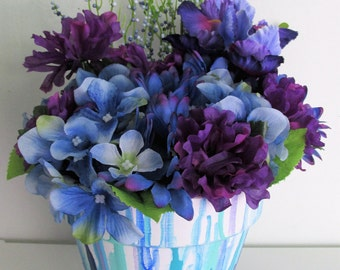 Hand-Painted Blue and Purple Themed Silk Floral Arrangement Centerpiece, featuring Drip-Painted Flower Pot