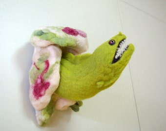 Moray eel den wall decor- needle felted wall hanging