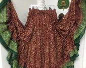 Free Shipping Gorgeous 32 yard sari skirt      (Belly dance tribal panel sari gypsy dance ats Goddess layer costume skirt)