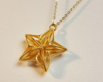 MYRA Star Pendant - Gold Steel