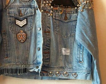 Studded denim jacket | Etsy