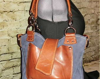 Slouchy leather tote-bag with interchangeable handles, handmade - Ready To Ship