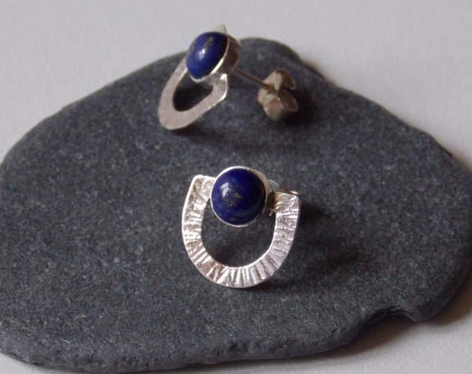 Earrings silver and lapis lazuli. Earrings with a lapis lazuli and silver half-round shape stone. Jewelry woman.