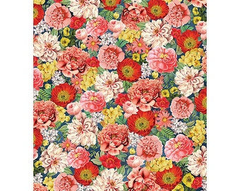 Dark Vintage Floral Wrapping Paper | flowers | penoies | daisies | pink | red | green | yellow | collage |