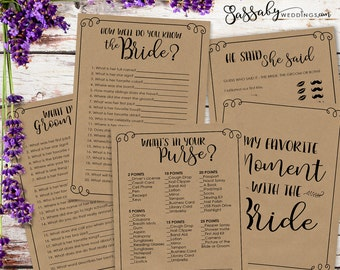 Bridal Shower Games Pack - INSTANT DOWNLOAD - Printable Brown Kraft Paper Look Wedding Shower Game Set, by Sassaby Weddings