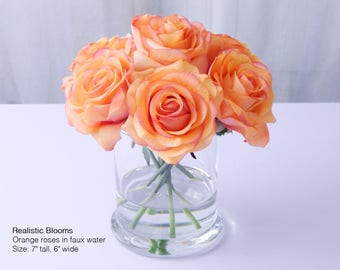 Peach, orange, rose/roses, glass vase, faux water, acrylic, illusion, silk, Real Touch flowers, floral arrangement, centerpiece, waterlook