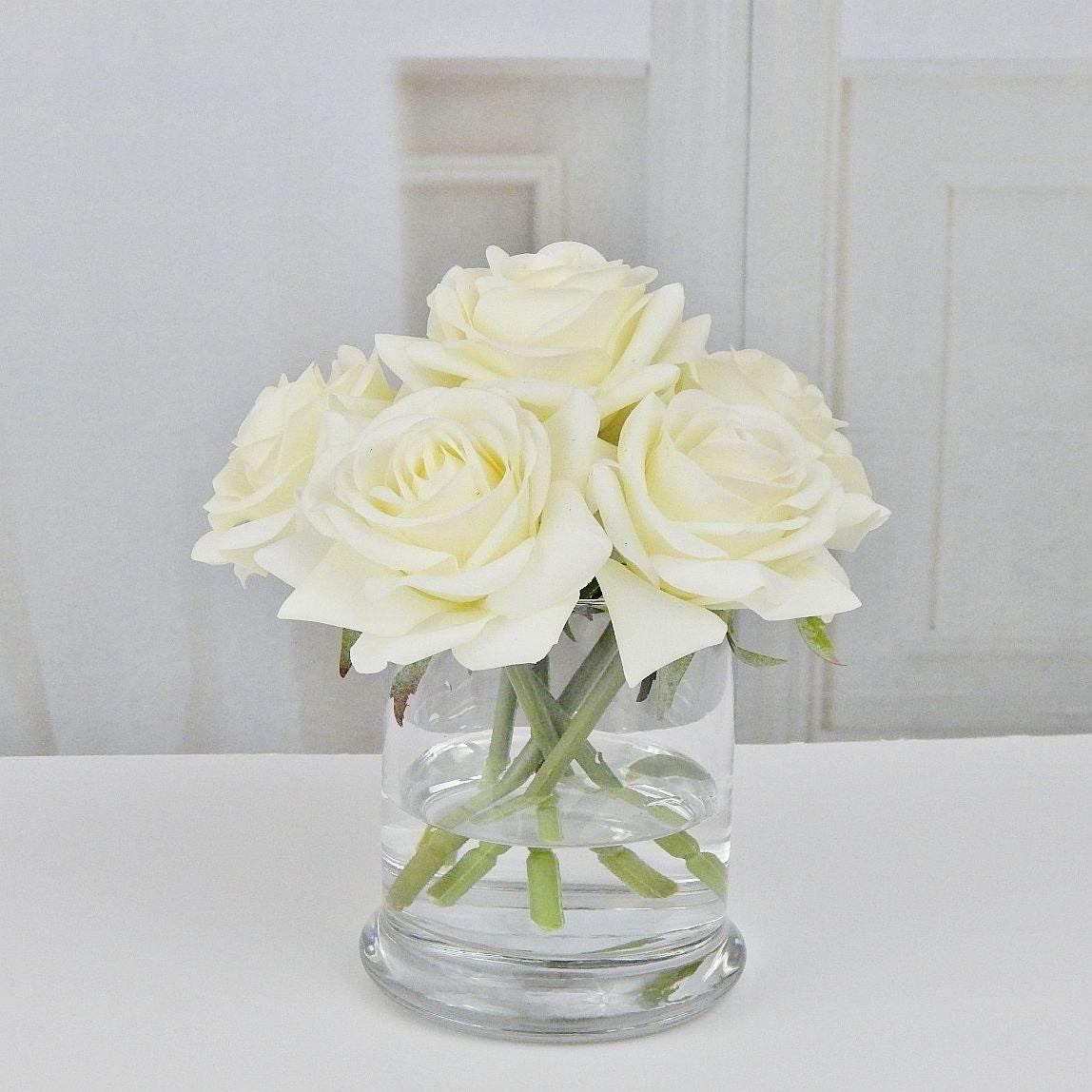 Cream roseroses glass vase faux water acrylic illusion silk cream roseroses glass vase faux water acrylic illusion silk real touch flowers floral arrangement centerpiece home decor gift reviewsmspy