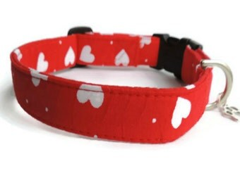 Hearts Fabric Adjustable Dog Collar UK Quality made