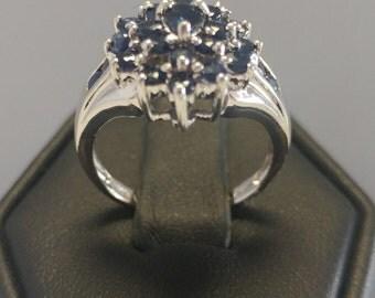 Sapphire Flower Cluster Ring