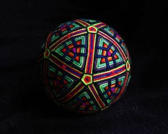 "Temari Ball ""Philosophical Evenings"" Handmade Home Decor Sacred Geometry Art"